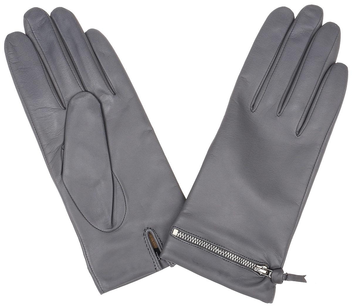 Перчатки12.32-9 greyЭлегантные женские перчатки Fabretti станут великолепным дополнением вашего образа и защитят ваши руки от холода и ветра во время прогулок. Перчатки выполнены из натуральной кожи ягненка. Модель декорирована стильной металлической змейкой. Такие перчатки будут оригинальным завершающим штрихом в создании современного модного образа, они подчеркнут ваш изысканный вкус и станут незаменимым и практичным аксессуаром.