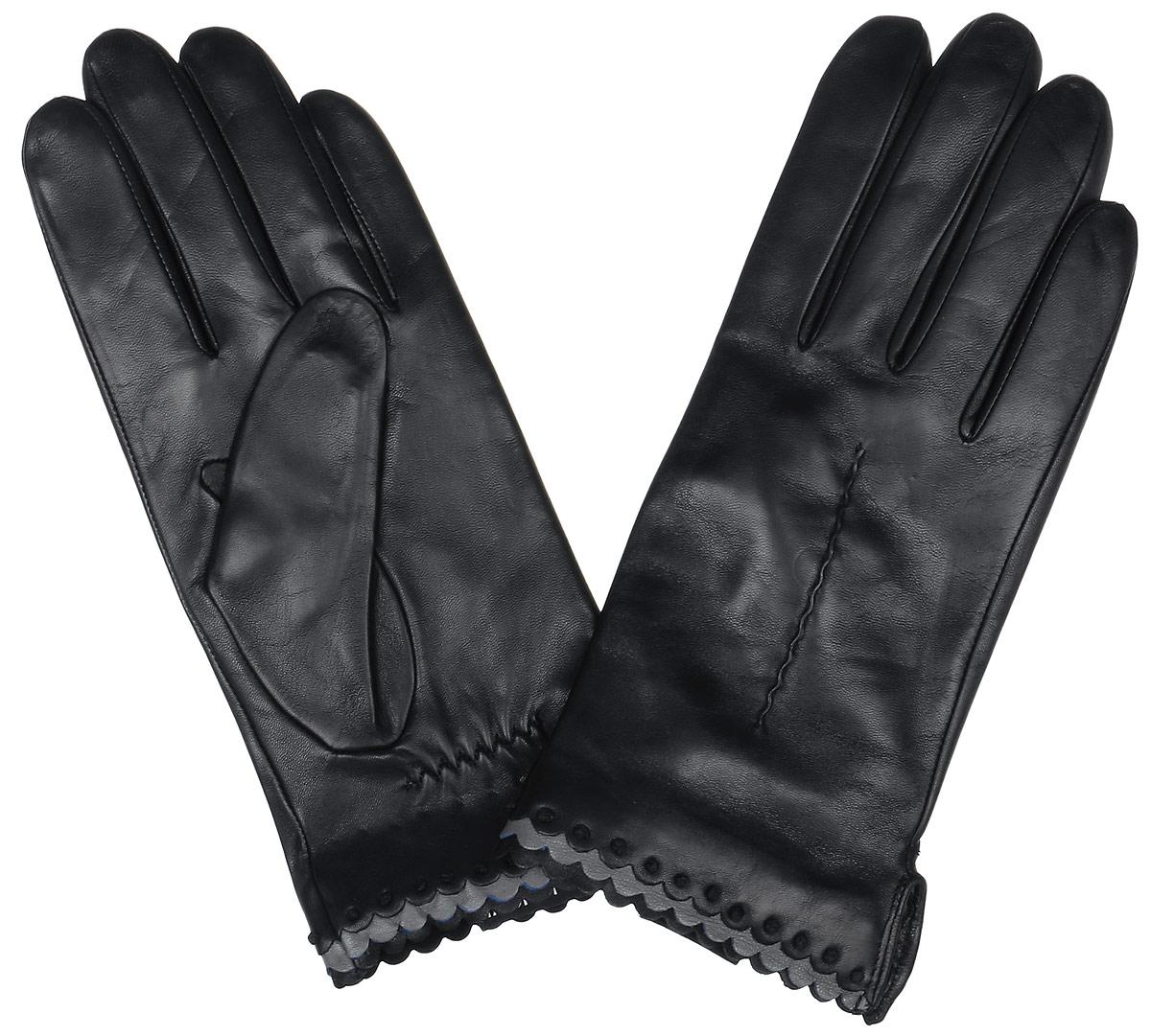 2.80-1 blackСтильные женские перчатки Fabretti не только защитят ваши руки, но и станут великолепным украшением. Перчатки выполнены из натуральной кожи ягненка, а их подкладка - из высококачественной шерсти с добавлением кашемира. Модель оформлена оригинальной каймой и строчками-стежками на запястье. Стильный аксессуар для повседневного образа.