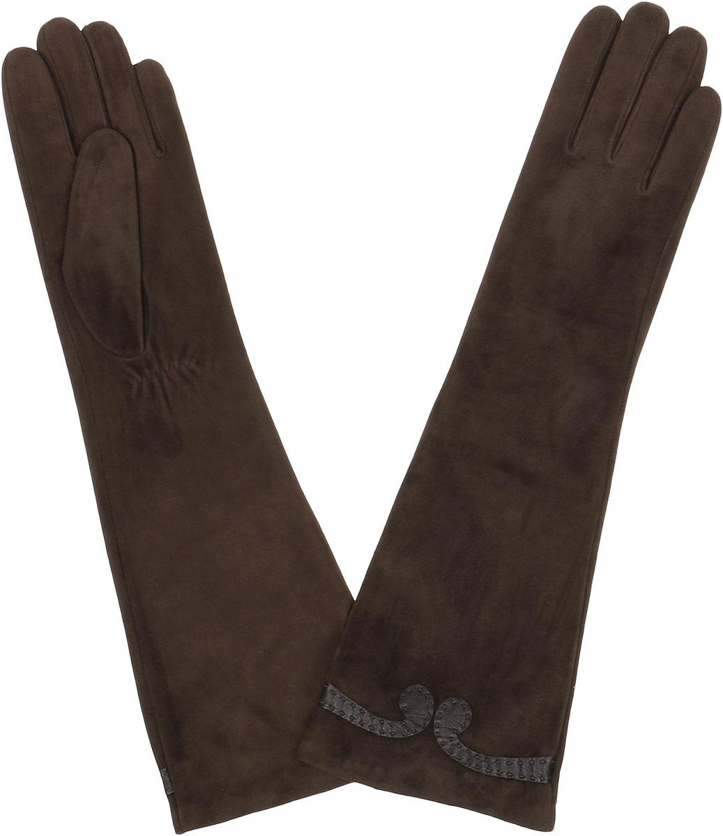 2.84-2 chocolateЭлегантные удлиненные женские перчатки Fabretti станут великолепным дополнением вашего образа и защитят ваши руки от холода и ветра во время прогулок. Перчатки выполнены из натуральной кожи ягненка. Модель декорирована небольшим узором из кожи. Такие перчатки будут оригинальным завершающим штрихом в создании современного модного образа, они подчеркнут ваш изысканный вкус и станут незаменимым и практичным аксессуаром.