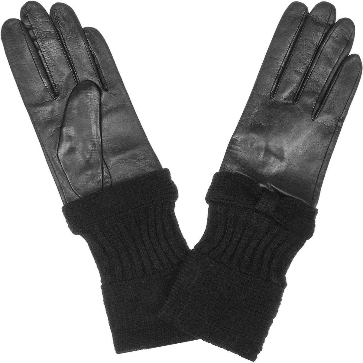 2.23-1 blackСтильные женские перчатки Fabretti не только защитят ваши руки, но и станут великолепным украшением. Перчатки выполнены из натуральной кожи ягненка, а их подкладка - из высококачественной шерсти с добавлением кашемира. Удлиненная модель дополнена вязанным манжетом, выполненным оригинальной вязкой. Стильный аксессуар для повседневного образа.