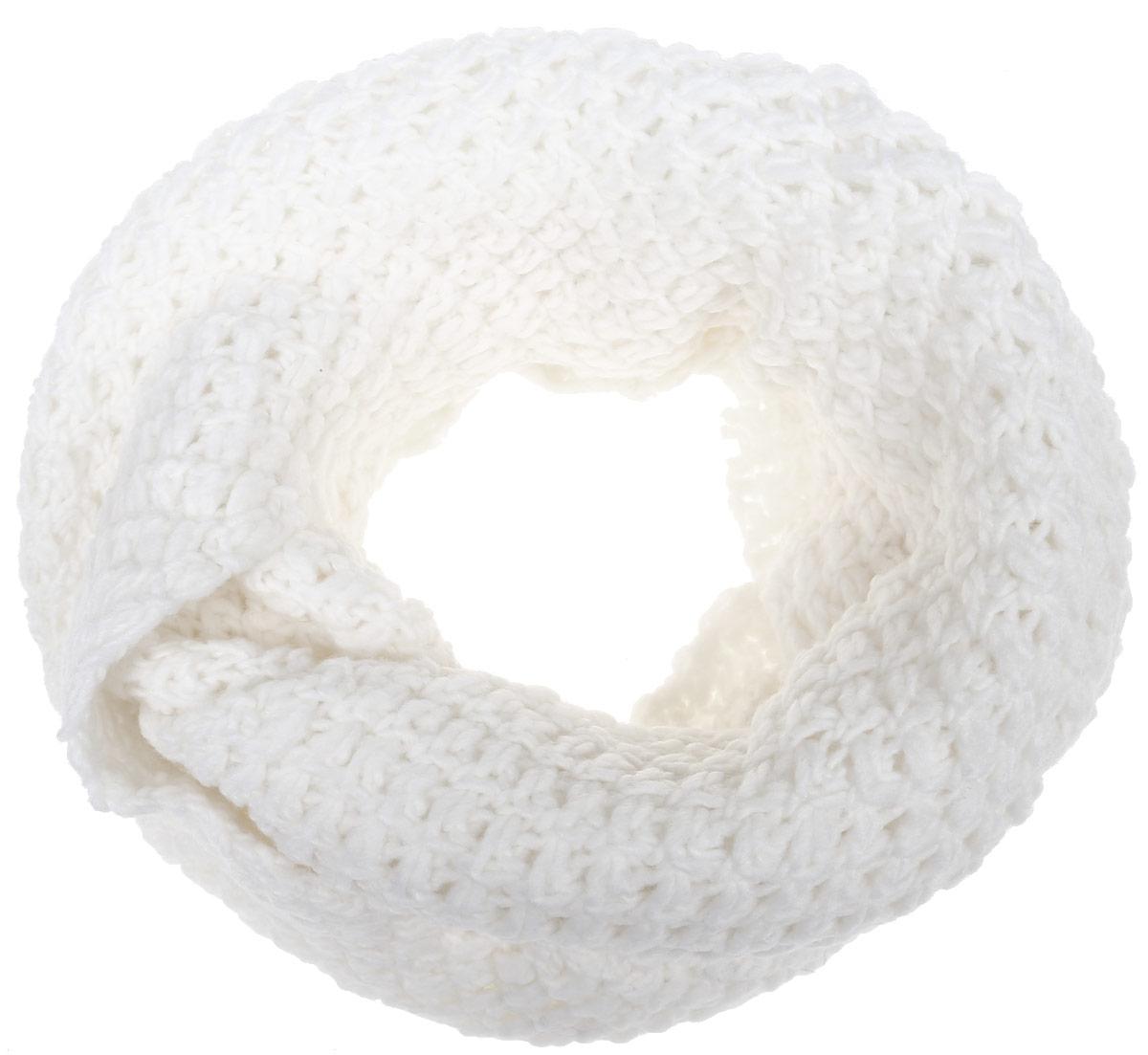 B327_MILKЖенский вязаный снуд-хомут Baon выполнен из высококачественной пряжи из шерсти и акрила. Модель связана кольцом и имеет крупную свободную вязку.