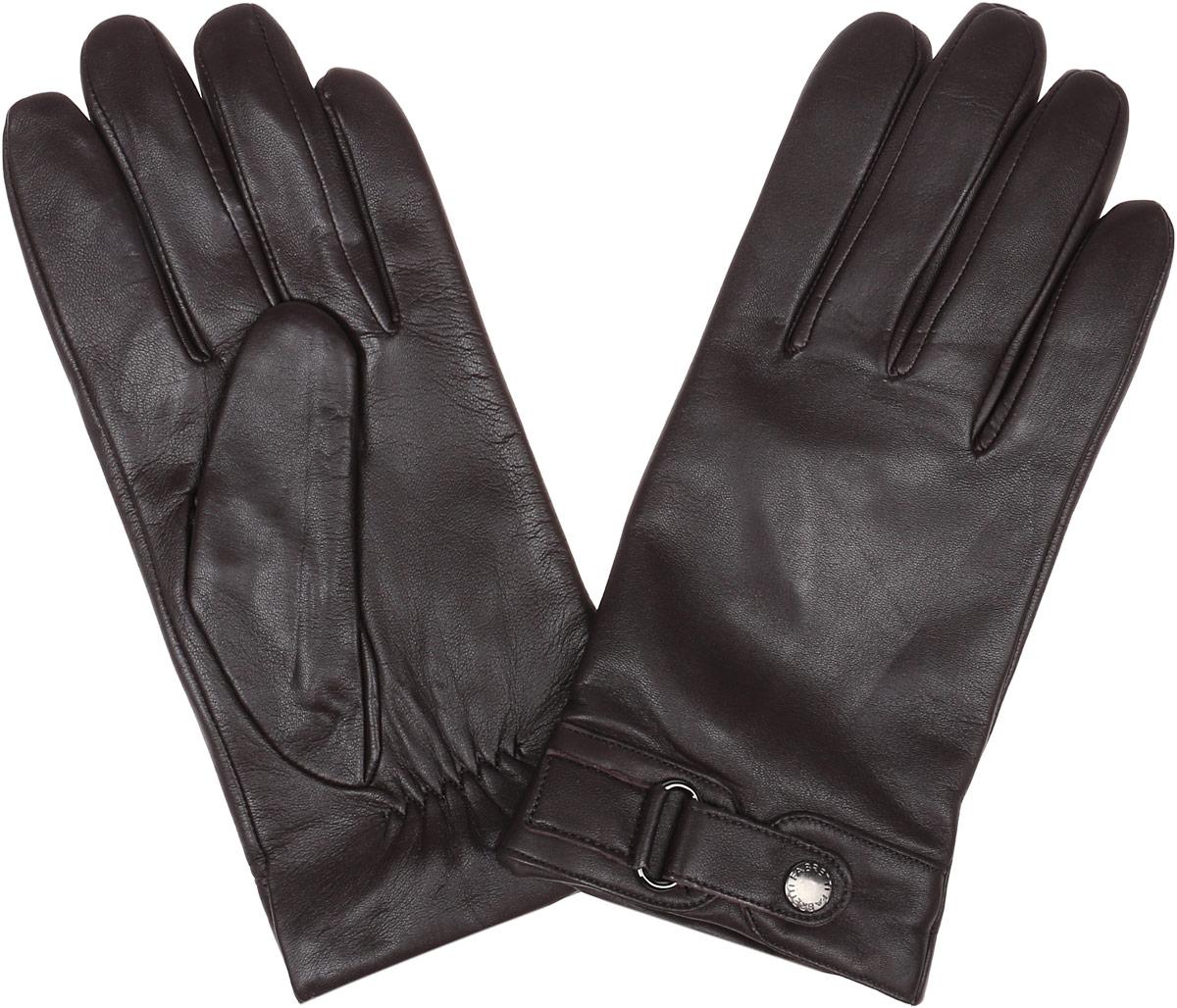 12.51-2 chocolateСтильные мужские перчатки Fabretti не только защитят ваши руки, но и станут великолепным украшением. Перчатки выполнены из натуральной кожи ягненка, а их подкладка - из высококачественной шерсти с добавлением кашемира. Модель дополнена декоративным хлястиком на кнопке. Перчатки имеют строчки- стежки на запястье, которые придают большее удобство при носке. Стильный аксессуар для повседневного образа.