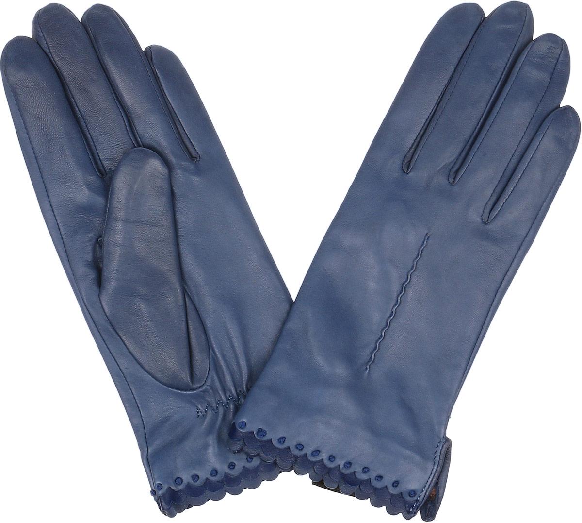 2.80-11s blueСтильные женские перчатки Fabretti не только защитят ваши руки, но и станут великолепным украшением. Перчатки выполнены из натуральной кожи ягненка, а их подкладка - из высококачественного шелка. Модель оформлена оригинальной каймой и строчками-стежками на запястье. Стильный аксессуар для повседневного образа.