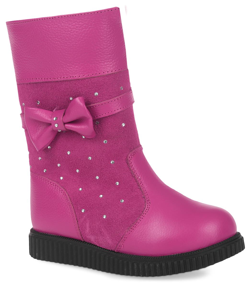 Сапоги11120-9Удобные сапоги от Зебра выполнены из натуральной кожи в сочетании с замшей. Застежка-молния надежно фиксирует изделие на ноге. Мягкая подкладка и стелька из шерсти обеспечивают тепло, циркуляцию воздуха и сохраняют комфортный микроклимат в обуви. Сбоку модель оформлена декоративным бантиком и стразами.