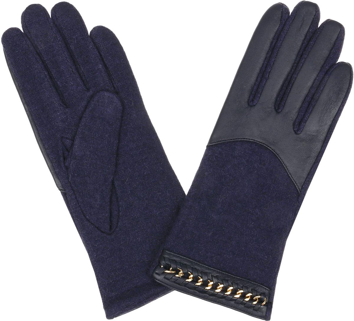Перчатки3.7-12 navyЖенские перчатки Fabretti Touch Screen не только защитят ваши руки от холода, но и станут незаменимым аксессуаром. Модель изготовлена из натуральной кожи и высококачественной шерсти. Современные технологии обработки кожи позволяют работать с любыми сенсорными дисплеями, не снимая перчатки. Модель оформлена оригинальным дизайном. Перчатки Fabretti станут завершающим и подчеркивающим элементом вашего стиля.