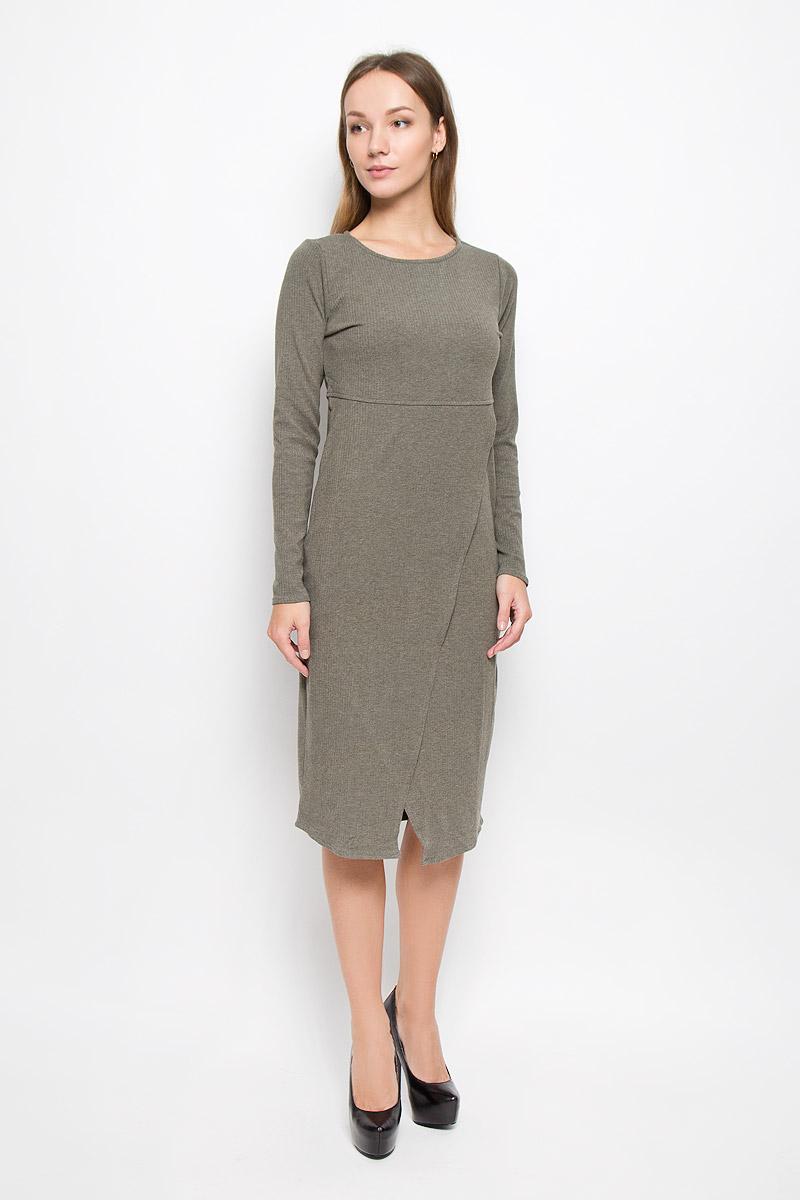 Платье5019348.00.75_7516Платье Tom Tailor Contemporary изготовлено из полиэстера с добавлением вискозы и эластана. Модель с запахом имеет круглый вырез горловины и длинные рукава.