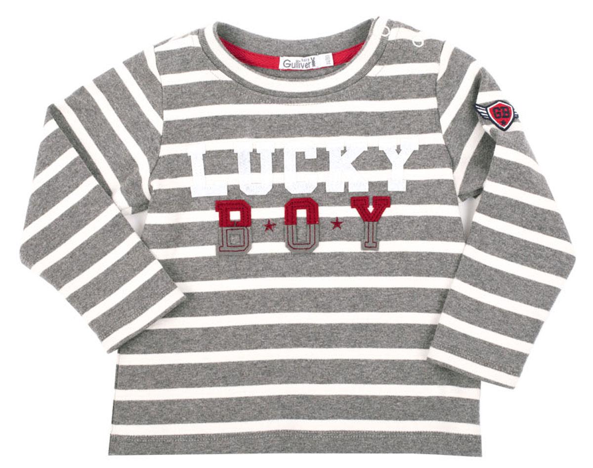 Футболка с длинным рукавом216GBBC1201Футболки для малышей относятся к базовому гардеробу, поэтому они должны выглядеть просто и симпатично, и быть приятными и удобными для повседневной носки. Нежный хлопок в полоску, оригинальный шрифтовой принт, аппликация, шеврон на рукаве, застежка на плече для легкости в одевании-раздевании сделают футболку любимой и для малыша, и для мамы. Вам стоит купить футболку с элегантным шрифтовым декором и она подарит малышу комфорт и отличное настроение.