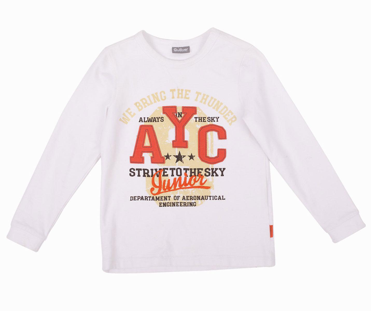 21604BMC1202Белые футболки для мальчика - основа повседневного гардероба! Но лишь некоторые из них становятся по-настоящему любимыми. Модная белая футболка с ярким выразительным принтом сделает каждый день ребенка интересным и увлекательным. Выполненная из хлопка с эластаном, футболка с надписями обладает особой мягкостью, обеспечивающей ежедневный комфорт. Вы решили купить модную белую футболку с длинным рукавом? Эта модель - то, что вам нужно!