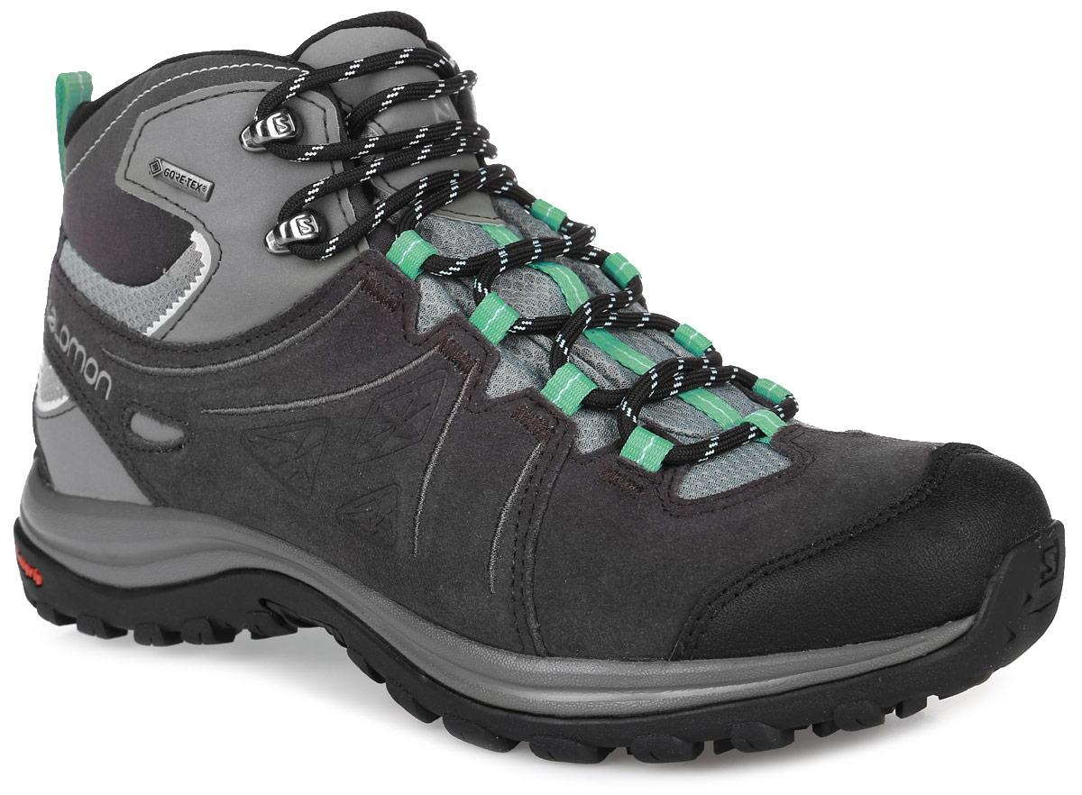 БотинкиL38162700Легкие универсальные женские зимние ботинки Salomon Ellipse 2 Mid Ltr Gtx в стиле походных созданы из кожи с полиуретановым покрытием и верхом из ткани плетения рипстоп, с непромокаемой мембраной и утеплением для защиты от суровых погодных условий. Защитная накладка на мыске обеспечит износостойкость. Утеплитель Thinsulate Ultra. Система быстрой шнуровки с верхними крючками обеспечивает надежную фиксацию ноги. Стелька выполнена из пластика EVA, благодаря чему создается амортизация шага. Не оставляющая следов подошва Winter Contagrip обеспечивает оптимальное сцепление на разных поверхностях и состоит из идеального сочетания специальных резин Ice Grip. Эти ботинки оптимальный вариант для трекинга. В них вашим ногам будет комфортно и уютно.