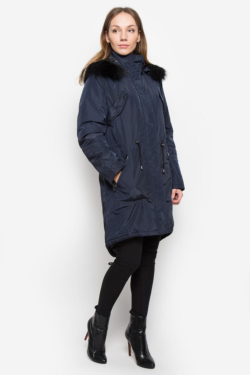 ПальтоB036533_DARK NAVYЖенское пальто Baon с длинными рукавами, воротником-стойкой и съемным капюшоном на молнии выполнена из прочного полиэстера. Наполнитель - натуральный пух. Капюшон украшен съемным натуральным мехом на пуговицах. Пальто застегивается на застежку-молнию спереди и имеет ветрозащитный клапан на кнопках. Изделие дополнено двумя втачными карманами на молниях спереди и двумя втачными нагрудными карманами с клапанами на кнопках, манжеты рукавов оснащены застежками-молниями. Объем талии регулируется при помощи шнурка-кулиски со стопперами.