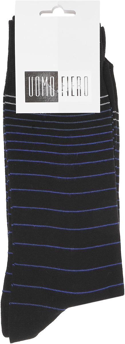MS060Мужские носки классической длины Uomo Fiero изготовлены из высококачественного хлопка с добавлением полиамида. Усиленная пятка и мысок обеспечивают долговечностью и комфорт. Носки оформлены узором в тонкую полоску.