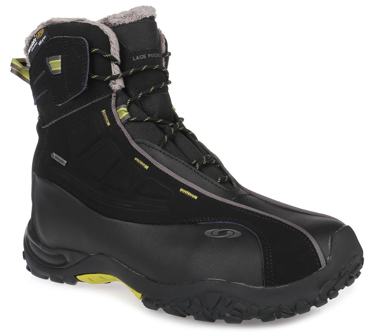 L36674600Трекинговые мужские ботинки Salomon B52 TS GTX - для активного отдыха и повседневного использования. Верх выполнен из разрезной кожи с полиуретановым покрытием. Технология Gore-Tex Extended Comfort Footwear гарантирует сухость ног и обеспечивает повышенный комфорт. Толстая стелька Superfat Winter Sockliner способствует защите от холода, обеспечивает дополнительную амортизацию и поддержку стопы. Защитная резиновая накладка задника обеспечивает защиту заднего отдела стопы, защитная резиновая накладка на мыске защитит ботинки в горах и во время пробежки. Не оставляющая следов подошва Contagrip обеспечивает оптимальное сцепление на разных поверхностях. Состоит подошва из идеального сочетания специальных резин. Модель декорирована отстрочками. Удобная шнуровка надежно фиксирует модель на стопе, позволяя регулировать ширину изделия. Швы проклеены. Защитное полиуретановое покрытие кожи. Такие ботинки отлично дополнят образ человека, ведущего активный образ жизни.
