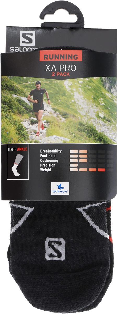 НоскиL35156400Носки Salomon Xa Pro 2 Pack изготовлены из высококачественного полиэстера с добавлением полиамида и эластана. Особенности особая конструкция Sensifit, эластичная поддержка свода стопы и сетчатая вставка для вентиляции делают носки незаменимыми для спортсменов. Резинка особой формы надежно фиксирует носки на ноге. В комплект входят 2 пары носков