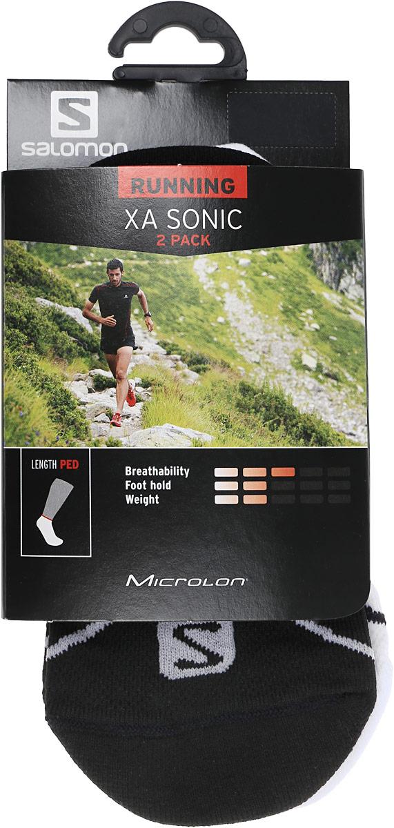 НоскиL36268600Носки Salomon Xa Sonic 2 Pack изготовлены из высококачественного полиамида. Особенности особая конструкция Sensifit, эластичная поддержка свода стопы и сетчатая вставка для вентиляции делают носки незаменимыми для спортсменов. Плоский шов на мыске исключит натирание. Резинка надежно фиксирует носки на ноге. В комплект входят 2 пары носков