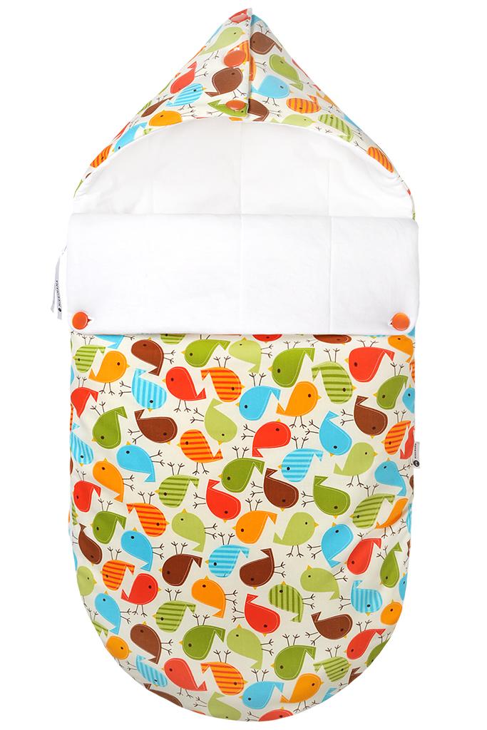 Конверт для новорожденного100100203Конверт для новорожденного Mikkimama Гули-гули порадует даже самых требовательных мам и согреет малыша в прохладную погоду. Изделие подойдет как для выписки малыша из роддома, так и для дальнейших прогулок на руках и в коляске. Конверт изготовлен из хлопка на хлопковой подкладке. В качестве утеплителя используется бамбуковое волокно - необыкновенно мягкое натуральное волокно, обладающее хорошей впитывающей способностью, прекрасными вентилирующими и антибактериальными свойствами. Верхняя часть конверта может использоваться в качестве капюшона, с помощью пластиковых пуговиц, она принимает вид треугольного капюшона. Конверт закрывается при помощи пластиковой застежки-молнии и при необходимости он раскладывается в удобный коврик для пеленания или игр. Благодаря продуманной системе застежек, конверт полностью раскрывается. Легко отстегивающийся отворот защитит кроху от холодного ветра. Также конверт можно использовать в качестве накидки на ножки для ребенка постарше. Оформлено...