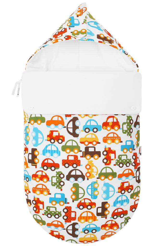 100100291Конверт для новорожденного Mikkimama Берегись автомобиля! порадует даже самых требовательных мам и согреет малыша в холодную погоду. Изделие подойдет как для выписки малыша из роддома, так и для дальнейших прогулок на руках и в коляске. Конверт изготовлен из хлопка на хлопковой подкладке. В качестве утеплителя используются альполюкс и Polartec. Альполюкс - экологически чистый утеплитель премиум класса. Уникальное сочетание натуральной шерсти мериноса и микроволокна помогают поддержать оптимальную для новорожденного температуру: малышу теплее на улице даже в самый сильный мороз. Polartec используется для сохранения тепла. Он не намокает, не впитывает запахи, прекрасно сохраняет форму и объем, и при этом дышит и сохраняет тепло и не хуже чем шерсть. Верхняя часть конверта может использоваться в качестве капюшона, с помощью пластиковых пуговиц, она принимает вид треугольного капюшона. Конверт закрывается при помощи пластиковой застежки-молнии и при необходимости он раскладывается...