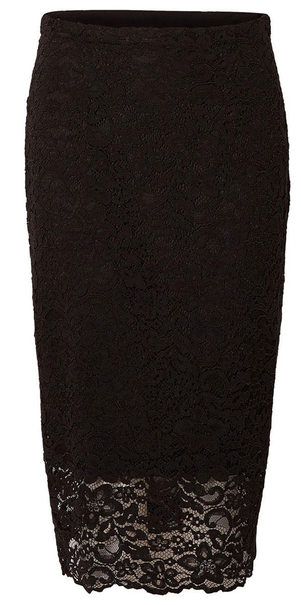 Юбка16051810_BlackЮбка Selected Femme выполнена из хлопка с добавлением полиамида. Юбка-карандаш средней длины застегивается на потайную застежку-молнию и пуговицу сбоку, имеет подъюбник из полиэстера.