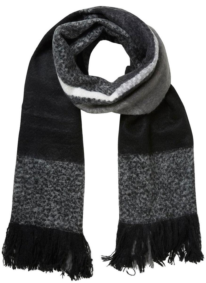 Шарф10135828_BlackЖенский шарф Vero Moda выполнен из высококачественного акрила. Широкий шарф украшен бахромой по краю и оформлен принтом в клетку.
