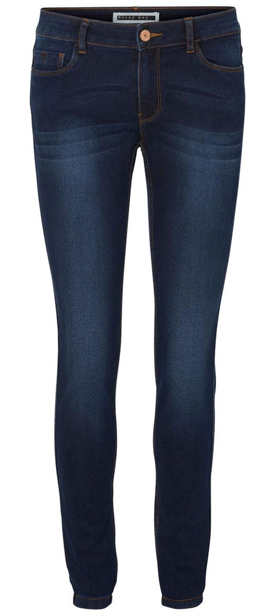 Джинсы10159414_Dark Blue DenimЖенские джинсы Vero Moda Noisy May Lucy изготовлены из хлопка с добавлением полиэстера и эластана. Джинсы застегиваются спереди на металлическую пуговицу и имеют ширинку на застежке-молнии. На поясе предусмотрены шлевки для ремня. Спереди расположены два втачных кармана и один маленький накладной, сзади - два накладных кармана.