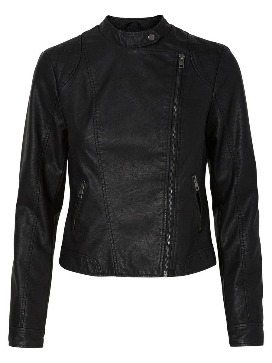 Куртка10156497_BlackЖенская куртка Vero Moda, выполненная из полиуретана и вискозы, отлично подойдет для прохладной погоды. Изделие дополнено подкладкой из 100% полиэстера. Модель с воротником-стойкой и длинными рукавами спереди застегивается на ассиметричную застежку-молнию. Спереди расположено два прорезных кармана на застежка-молниях.