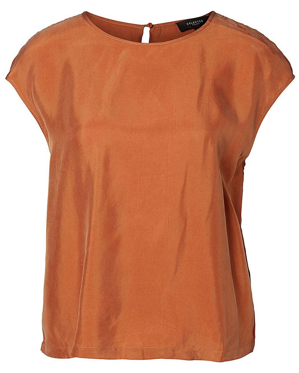16051746_SierraЖенская блуза Selected Femme без рукавов, с круглым вырезом горловины выполнена из купро с добавлением вискозы. Блузка имеет свободный крой и застегивается на пуговицу на спинке.