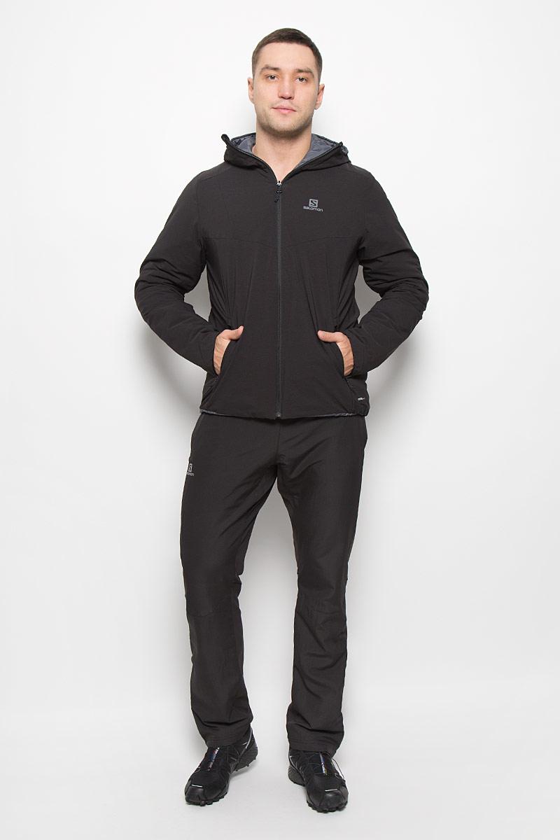 L38216900Стильная двусторонняя мужская куртка Drifter Hoodie от Salomon изготовлена из нейлона и эластана с подкладкой из полиэстера. Куртка позволяет вам адаптироваться к любым условиям и менять свой стиль в зависимости от настроения. Благодаря технологии Advanced Skin Warm материал защитит от проникновение ветра. Утеплитель PrimaLoft Insulation ECO хорошо пропускает воздух, мало весит и сохраняет тепло. Лицевая ткань не пропускает влагу и ветер, а надетая мягкой внутренней стороной наружу куртка превращается в стильную одежду для отдыха на курорте и в городе. Куртка с несъемным капюшоном застегивается на застежку-молнию. По бокам капюшон присборен на резинки. Спереди модель имеет три втачных кармана на застежках-молниях, с внутренней стороны - два втачных кармана на застежках-молниях.