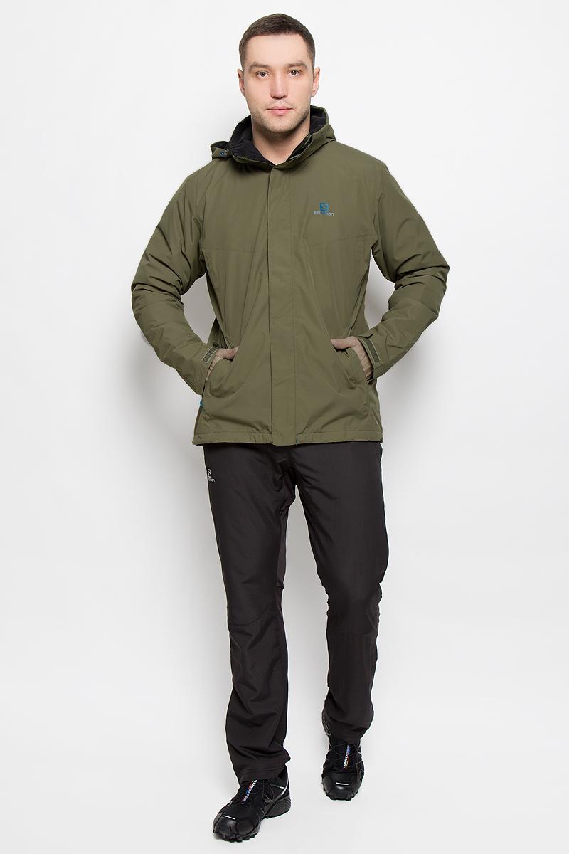 КурткаL38217400Мужская куртка Salomon Elemental Insulated с длинными рукавами и воротником-стойкой, трансформирующимся в капюшон, выполнена из прочного полиэстера. Наполнитель - синтепон. Подкладка выполнена из нейлона. Благодаря материалу Advanced Skin Dry такая модель защитит вас от дождя и ветра. Капюшон при необходимости можно свернуть и спрятать в специальный клапан на воротнике, где он фиксируется при помощи липучки. Куртка застегивается на застежку-молнию спереди и имеет ветрозащитный клапан на липучках. Манжеты рукавов дополнены хлястиками на липучках. Изделие оснащено двумя втачными карманами на застежках-молниях спереди, а также внутренним втачным карманом на молнии. Низ изделия дополнен шнурком-кулиской, объем капюшона также регулируется при помощи шнурка-кулиски.