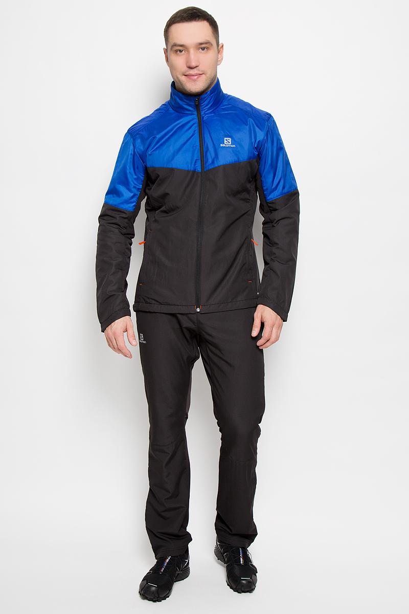 КурткаL39108000Мужская куртка для катания Salomon Escape с длинными рукавами и воротником-стойкой выполнена из прочного полиэстера с подкладкой из флиса. Наполнитель - синтепон. Благодаря материалу Advanced Skin Shield такая модель защитит вас от дождя и ветра. Модель дополнена вставками из эластичного нейлона, обеспечивающими необходимую вентиляцию. Куртка застегивается на застежку-молнию спереди. Изделие оснащено двумя втачными карманами на застежках-молниях спереди. Низ изделия дополнен шнурком-кулиской со стопперами.