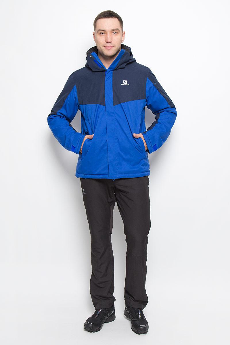 L38313300Стильная мужская куртка Stormseeker от Salomon изготовлена из высококачественного полиэстера с подкладкой из нейлона. Благодаря технологии Advanced Skin Dry 10/10 материал предотвращает проникновение влаги и хорошо пропускает воздух. В качестве наполнителя используется полиэстер. Куртка с высоким воротником-стойкой и съемным капюшоном застегивается на застежку-молнию и дополнительно на ветрозащитный клапан с липучками. Капюшон пристегивается к куртке с помощью кнопок и липучек. Эластичный шнурок со стоппером на капюшоне регулирует его объем. Спереди, на рукаве и с внутренней стороны имеются прорезные карманы с застежками-молниями. В передних карманах предусмотрены эластичные шнурки с платком и с карабином для ключей. С внутренней стороны куртка оснащена снегозащитным клапаном на застежках-кнопках. Манжеты рукавов дополнены хлястиками на липучках. Нижняя часть модели оснащена эластичным шнурком со стопперами.