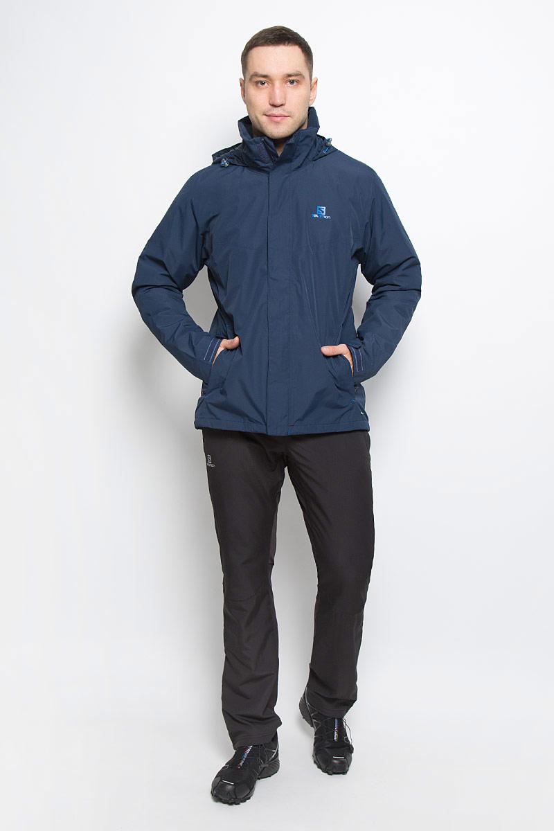 L38217400Мужская куртка Salomon Elemental Insulated с длинными рукавами и воротником-стойкой, трансформирующимся в капюшон, выполнена из прочного полиэстера. Наполнитель - синтепон. Подкладка выполнена из нейлона. Благодаря материалу Advanced Skin Dry такая модель защитит вас от дождя и ветра. Капюшон при необходимости можно свернуть и спрятать в специальный клапан на воротнике, где он фиксируется при помощи липучки. Куртка застегивается на застежку-молнию спереди и имеет ветрозащитный клапан на липучках. Манжеты рукавов дополнены хлястиками на липучках. Изделие оснащено двумя втачными карманами на застежках-молниях спереди, а также внутренним втачным карманом на молнии. Низ изделия дополнен шнурком-кулиской, объем капюшона также регулируется при помощи шнурка-кулиски.
