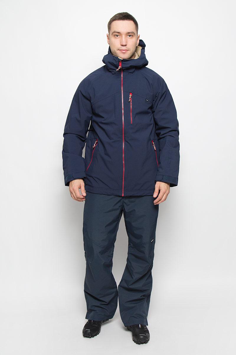 650032-5056Мужская куртка для сноуборда ONeill Pm Sector выполнена из полиэстера с подкладкой из синтепона. Модель с длинными рукавами и несъемным капюшоном застегивается на застежку-молнию спереди. Изделие дополнено тремя втачными карманами на застежках-молниях, внутренним втачным карманом на кнопке и накладным карманом-сеткой, также имеется небольшой кармашек на рукаве. Рукава дополнены эластичными резинками на манжетах, а также хлястиками с липучками, которые позволяют регулировать обхват манжет. По бокам куртки, от линии талии до середины рукавов, расположены вентиляционные отверстия с сетчатыми вставками, закрывающиеся на застежки-молнии. Куртка оснащена внутренней противоснежной вставкой на кнопках. Низ куртки дополнен шнурком-кулиской. Объем капюшона также регулируется при помощи шнурка-кулиски. Водонепроницаемость: 10 000 мм. Паронепроницаемость: 10 000 гр/м/24ч.