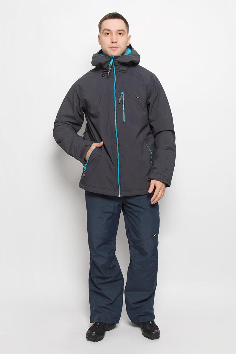 Куртка650032-5056Мужская куртка для сноуборда ONeill Pm Sector выполнена из полиэстера с подкладкой из синтепона. Модель с длинными рукавами и несъемным капюшоном застегивается на застежку-молнию спереди. Изделие дополнено тремя втачными карманами на застежках-молниях, внутренним втачным карманом на кнопке и накладным карманом-сеткой, также имеется небольшой кармашек на рукаве. Рукава дополнены эластичными резинками на манжетах, а также хлястиками с липучками, которые позволяют регулировать обхват манжет. По бокам куртки, от линии талии до середины рукавов, расположены вентиляционные отверстия с сетчатыми вставками, закрывающиеся на застежки-молнии. Куртка оснащена внутренней противоснежной вставкой на кнопках. Низ куртки дополнен шнурком-кулиской. Объем капюшона также регулируется при помощи шнурка-кулиски. Водонепроницаемость: 10 000 мм. Паронепроницаемость: 10 000 гр/м/24ч.