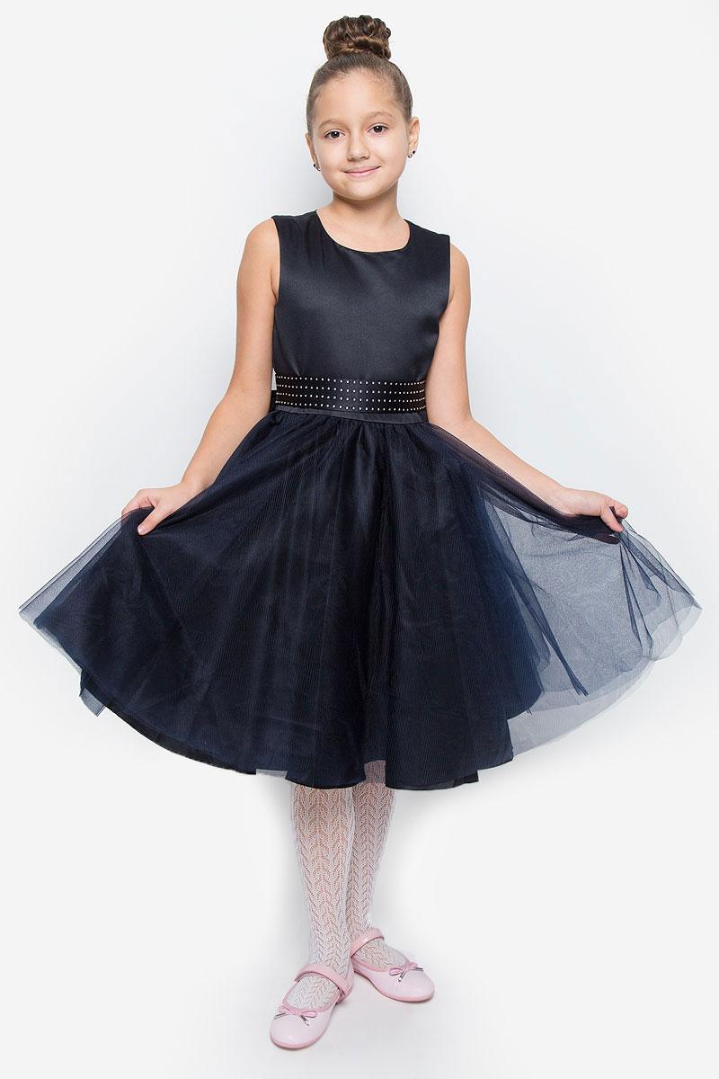 216BBGP25010200Красивое платье для девочки Button Blue изготовлено из полиэстера на подкладке из натурального хлопка. Платье с круглым вырезом горловины застегивается сзади на скрытую молнию. Верхняя часть объемной юбки выполнена из мягкой микросетки. В талии модель дополнена широким поясом, декорированным стразами. Платье идеально подойдет для праздничных мероприятий. В нем каждая девочка почувствует себя настоящей принцессой!