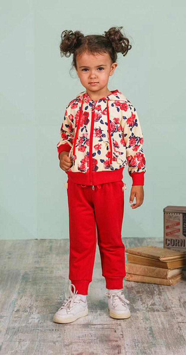 Спортивный костюм205274Спортивный костюм для девочки Sweet Berry, состоящий из толстовки и брюк, идеально подойдет для занятий спортом и станет отличным дополнением к детскому гардеробу. Изготовленный из эластичного хлопка, он необычайно мягкий и приятный на ощупь, не сковывает движения и позволяет коже дышать, не раздражает даже самую нежную и чувствительную кожу ребенка, обеспечивая ему наибольший комфорт. Толстовка с капюшоном на кулиске и длинными рукавами спереди застегивается на пластиковую застежку-молнию. Манжеты и низ изделия стянуты широкой эластичной резинкой, препятствующей проникновению холодного воздуха. Модель оформлена ярким цветочным принтом и дополнена двумя втачными карманами, которые по краям украшены оборкой. Спортивные брюки на поясе имеют широкую эластичную резинку со шнурком, благодаря чему они не сдавливают животик и не сползают. Манжеты изделия выполнены из широкой эластичной резинки. Сзади брюки дополнены цветочной оборкой. Такой...