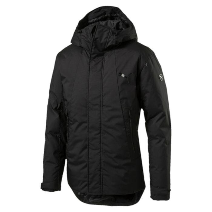 838652_01Теплая и стильная куртка Puma Active Protective Down Jacket. Модель декорирована логотипом PUMA, нанесенным методом глянцевой печати, а также силиконовой эмблемой PUMA. Модель изготовлена с использованием технологии stormCELL из водонепроницаемых, но в то же время дышащих материалов, способных справиться с любой непогодой. Среди других отличительных особенностей модели – капюшон с регулировкой размера спереди и сзади при помощи затягивающихся шнуров со стопорами, ветрозащитный клапан на липучке и наращенный спереди ворот, надежно закрывающий шею и подбородок, язычки застежек-молний из светоотражающего материала, манжеты на застежке-липучке, вторые удлиненные манжеты из эластичного материала с отверстием для большого пальца, боковые карманы на молнии с блестящим покрытием, снабженные односторонней флисовой подкладкой, подол с кулиской и затягивающимся шнуром со стопорами для регулирования посадки, петля для вешалки, висячий ярлык с указанием состава наполнителя.