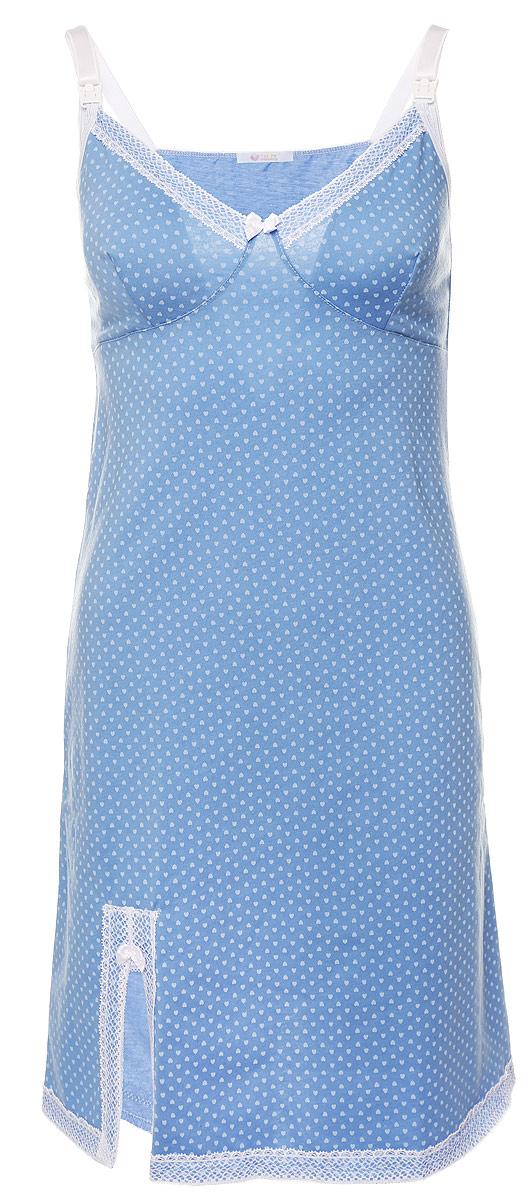 Ночная рубашка1-НМП 09201Удобная трикотажная сорочка для беременных и кормящих Hunny Mammy, изготовленная из высококачественного хлопкового материала. Сорочка на тонких бретелях с клипсами для кормления, лиф и низ изделия украшены элегантным гипюром и атласным бантиком. Сорочка оформлена стильным принтом в сердечки и по низу дополнена небольшим разрезом. Одежда, изготовленная из хлопка, приятна к телу, сохраняет тепло в холодное время года и дарит прохладу в теплое, позволяет коже дышать.