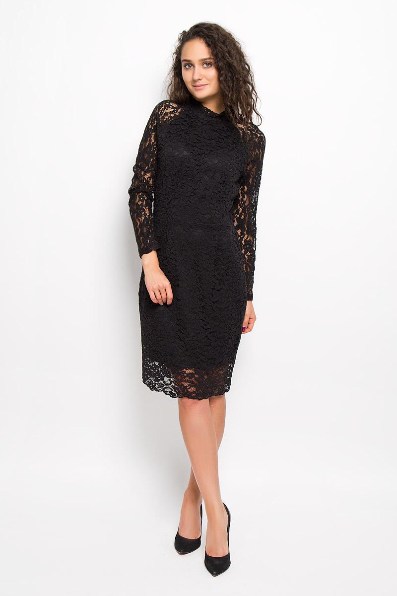 16051808_BlackКрасивое платье Selected Femme изготовлено из хлопка с добавлением полиамида. Подкладка модели выполнена из полиэстера. Платье с воротником-стойкой и длинными рукавами-реглан застегивается сзади на пуговицы и молнию. Изделие дополнено эффектным разрезом на спинке.