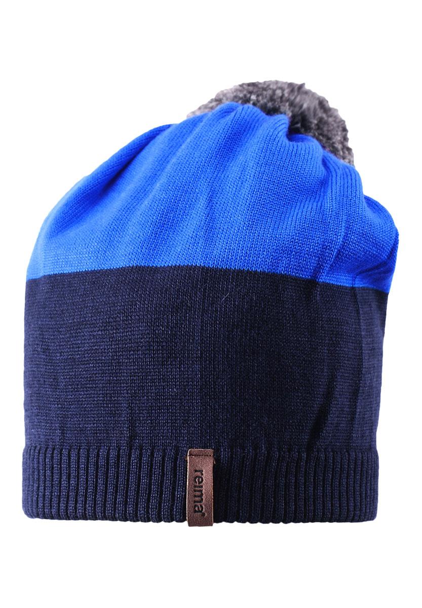 Шапка детская528497-4620Детская шапка связана из теплой полушерсти. Забавный контрастный помпон оживит любой зимний образ!