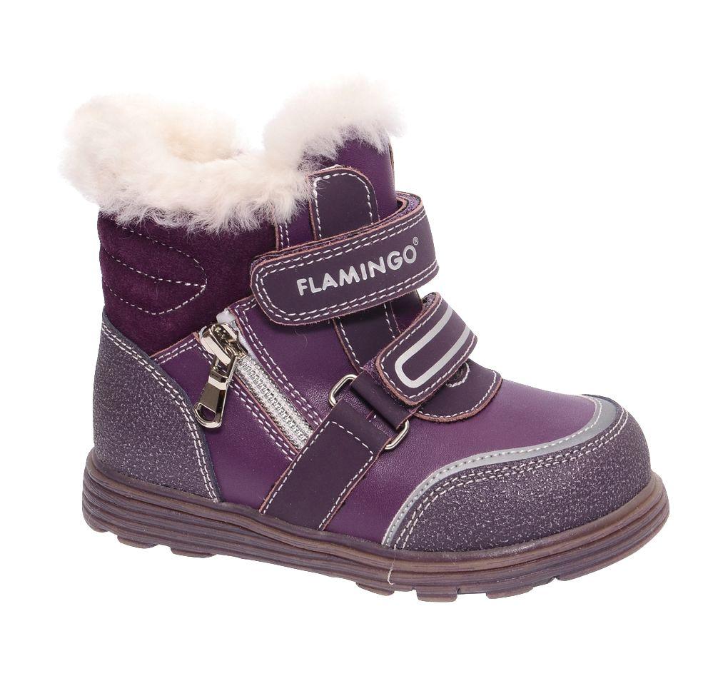 БотинкиW6XY323Модные ботинки для девочки от Flamingo, выполненные из натуральной и искусственной кожи, оформлены меховой оторочкой, сбоку - декоративной молнией. Подкладка и стелька из натуральной шерсти не дадут ногам замерзнуть. Ремешки с застежками-липучками надежно зафиксируют модель на ноге. Боковая застежка-молния позволяет легко снимать и надевать модель. Подошва дополнена рифлением.