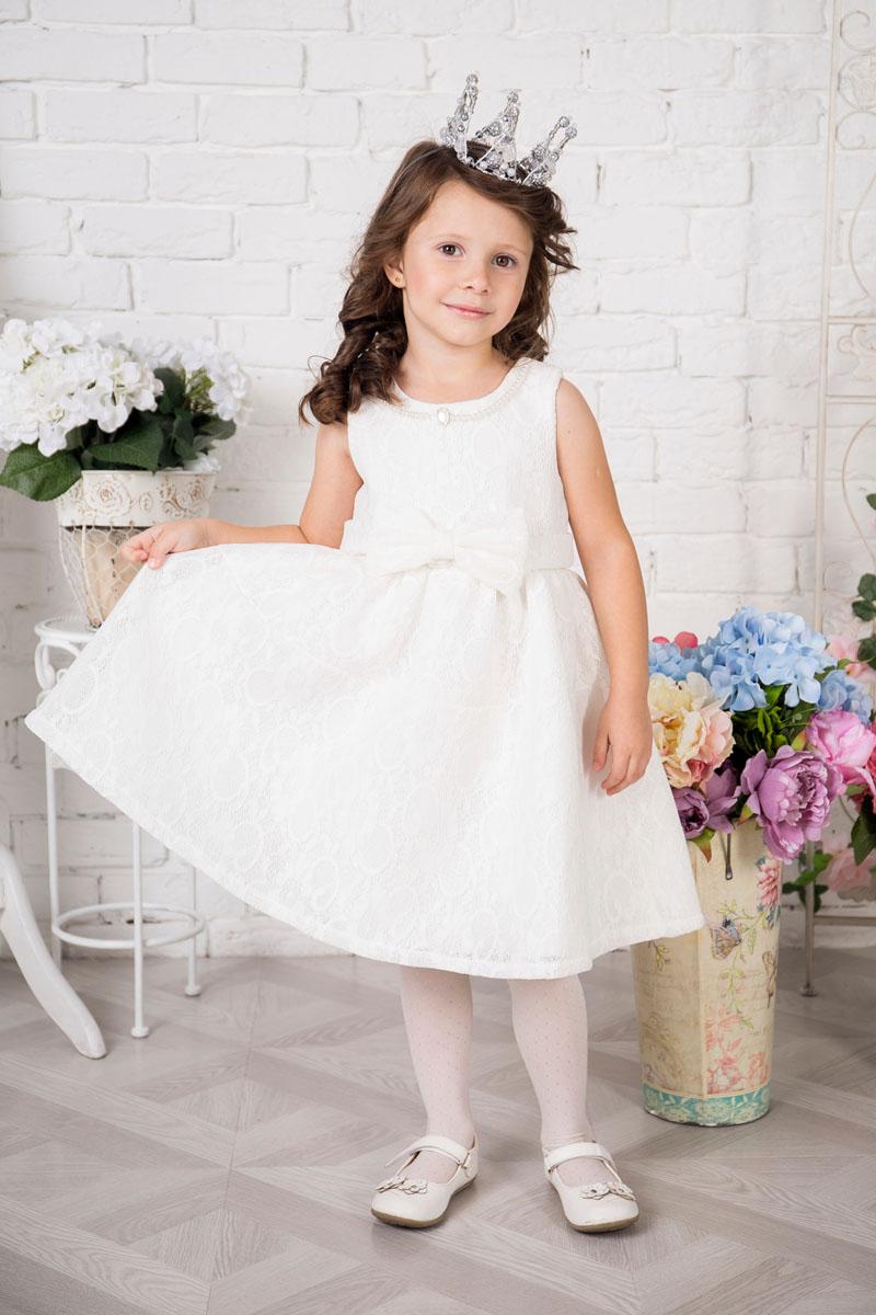 Платье215903Платье для девочки Sweet Berry выполнено из высококачественного кружевного материала и дополнено подкладкой из натурального хлопка. Модель сзади застегивается на потайную застежку-молнию. Платье дополнено текстильным бантом украшенным спереди бантом. Горловина оформлена декоративными бусами.