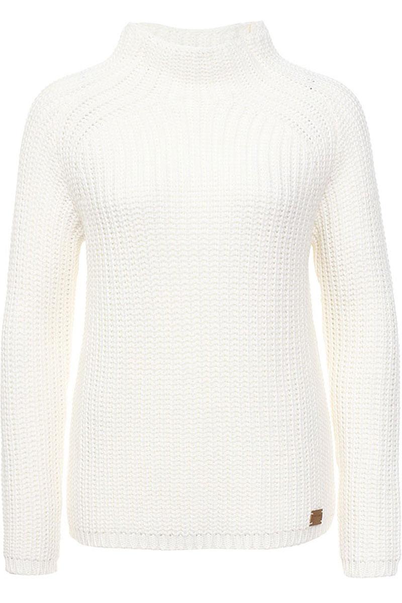 W16-171220_201Модный женский свитер Finn Flare, изготовленный из шерсти и акрила, мягкий и приятный на ощупь, не сковывает движений и обеспечивает комфорт. Модель с воротником-стойка и длинными рукавами-реглан оформлена оригинальным вязаным узором. Манжеты рукавов и низ свитера связаны резинкой.
