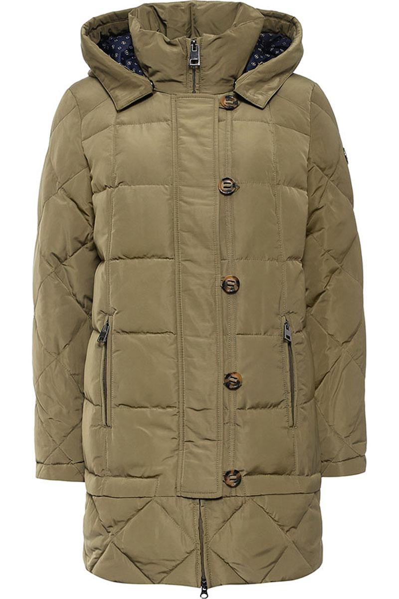 ПальтоW16-12018_901Стильное женское пальто Finn Flare изготовлено из высококачественного полиэстера. В качестве утеплителя используется пух с добавлением пера. Модель с воротником-стойкой и съемным капюшоном застегивается на застежку-молнию и дополнительно на клапан с пуговицами. Капюшон, дополненный регулирующим эластичным шнурком, пристегивается к пальто с помощью кнопок. Спереди расположены два прорезных кармана на застежках-молниях. Манжеты рукавов дополнены трикотажными напульсниками.