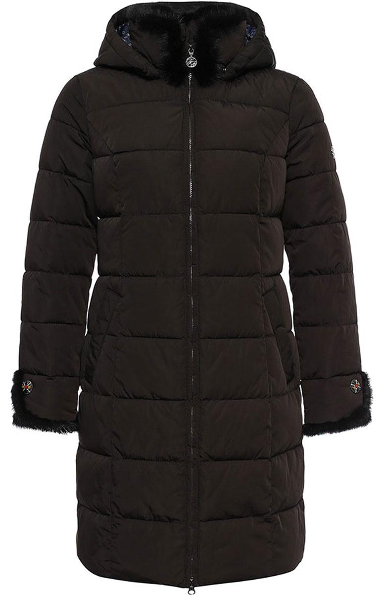 W16-11027_616Стильное женское пальто Finn Flare изготовлено из 100% полиэстера. В качестве утеплителя используется полиэстер. Пальто с воротником-стойкой и съемным капюшоном, дополненным эластичным шнурком, застегивается на пластиковую молнию. Капюшон пристегивается к пальто с помощью кнопок. Спереди расположены два кармана на застежках-кнопках. Модель дополнена натуральным мехом крашенной норки.