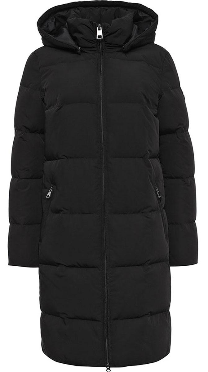 ПальтоW16-11004_200Удобное и теплое женское пальто Finn Flare изготовлено из 100% полиэстера. Удлиненная модель с длинными рукавами и с капюшоном с наполнителем из пуха и пера. Застегивается изделие на застежку молнию и дополнительно имеет внутреннюю ветрозащитную планку. Изделие дополнено двумя карманами на застежках-молниях.