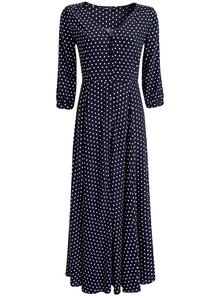 Платье11901148/24681/7510DМодное платье oodji Ultra выполнено из 100% вискозы. Модель с V-образным вырезом горловины и рукавами 3/4 застегивается на пуговицы. Оформлено изделие принтом в горох.