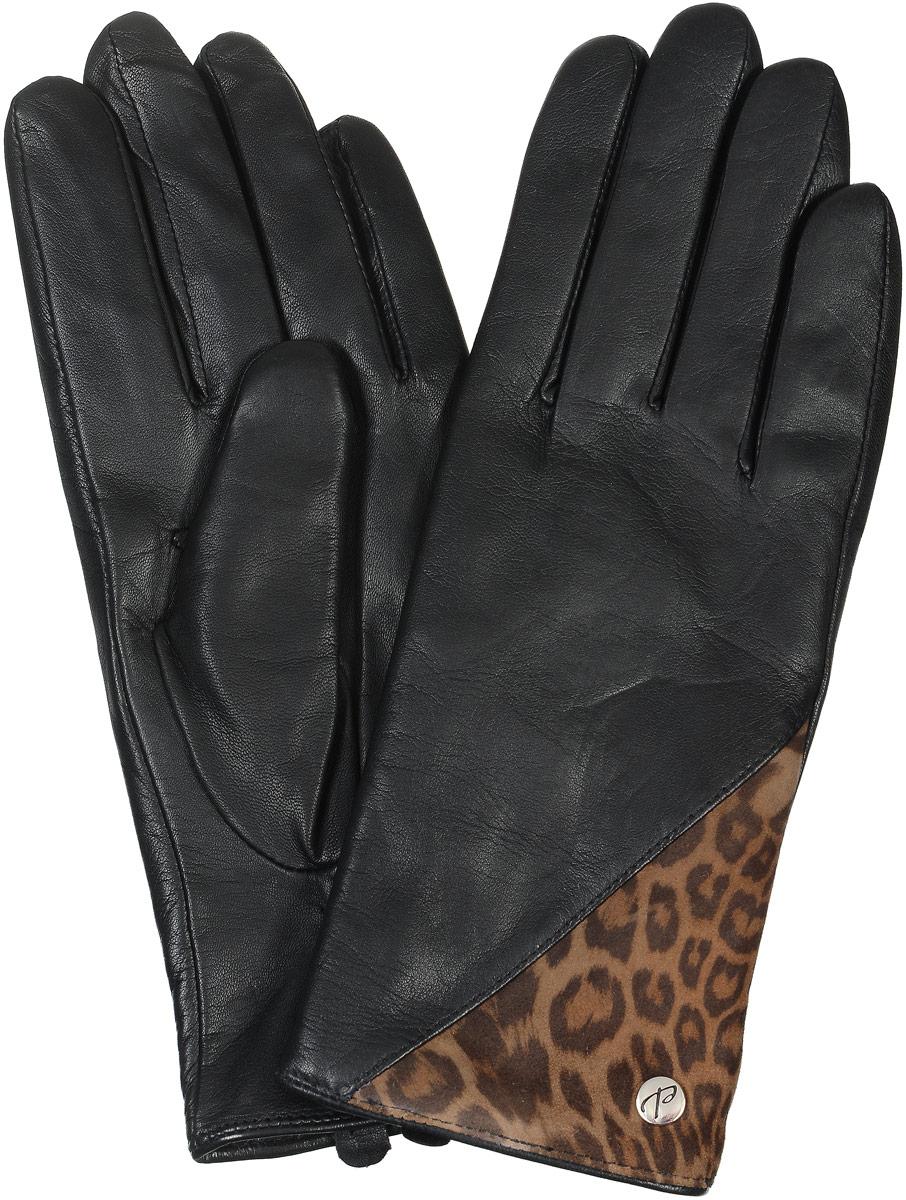 2104516673Стильные женские перчатки Piero не только защитят ваши руки от холода, но и станут великолепным украшением. Они выполнены из мягкой и приятной на ощупь натуральной кожи, подкладка - из шерсти и акрила. Модель декорирована на лицевой стороне вставкой из кожи с леопардовым принтом и металлическими клепками. На тыльной стороне перчатки присборены на резинку для лучшего прилегания к запястью.