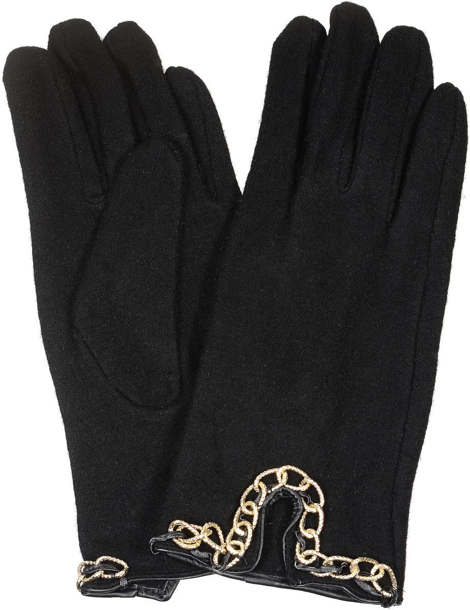 02109115230_01Элегантные женские перчатки Sabellino станут великолепным дополнением вашего образа и защитят ваши руки от холода и ветра во время прогулок. Перчатки выполнены из плотного шерстяного трикотажа. Модель выполнена в лаконичном однотонном стиле и оформлена стильным узором из металлических цепочек. Такие перчатки будут оригинальным завершающим штрихом в создании современного модного образа.
