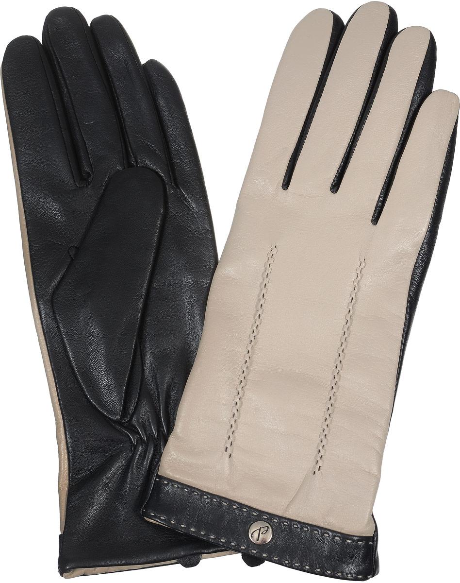 2104516670Стильные женские перчатки Piero станут великолепным дополнением вашего образа и защитят ваши руки от холода и ветра во время прогулок. Перчатки выполнены из натуральной кожи, а подкладка изготовлена из теплой шерсти с добавлением акрила. Модель оформлена оригинальной отстрочкой и дополнена металлической кнопкой с логотипом бренда. Такие перчатки будут оригинальным завершающим штрихом в создании современного модного образа.