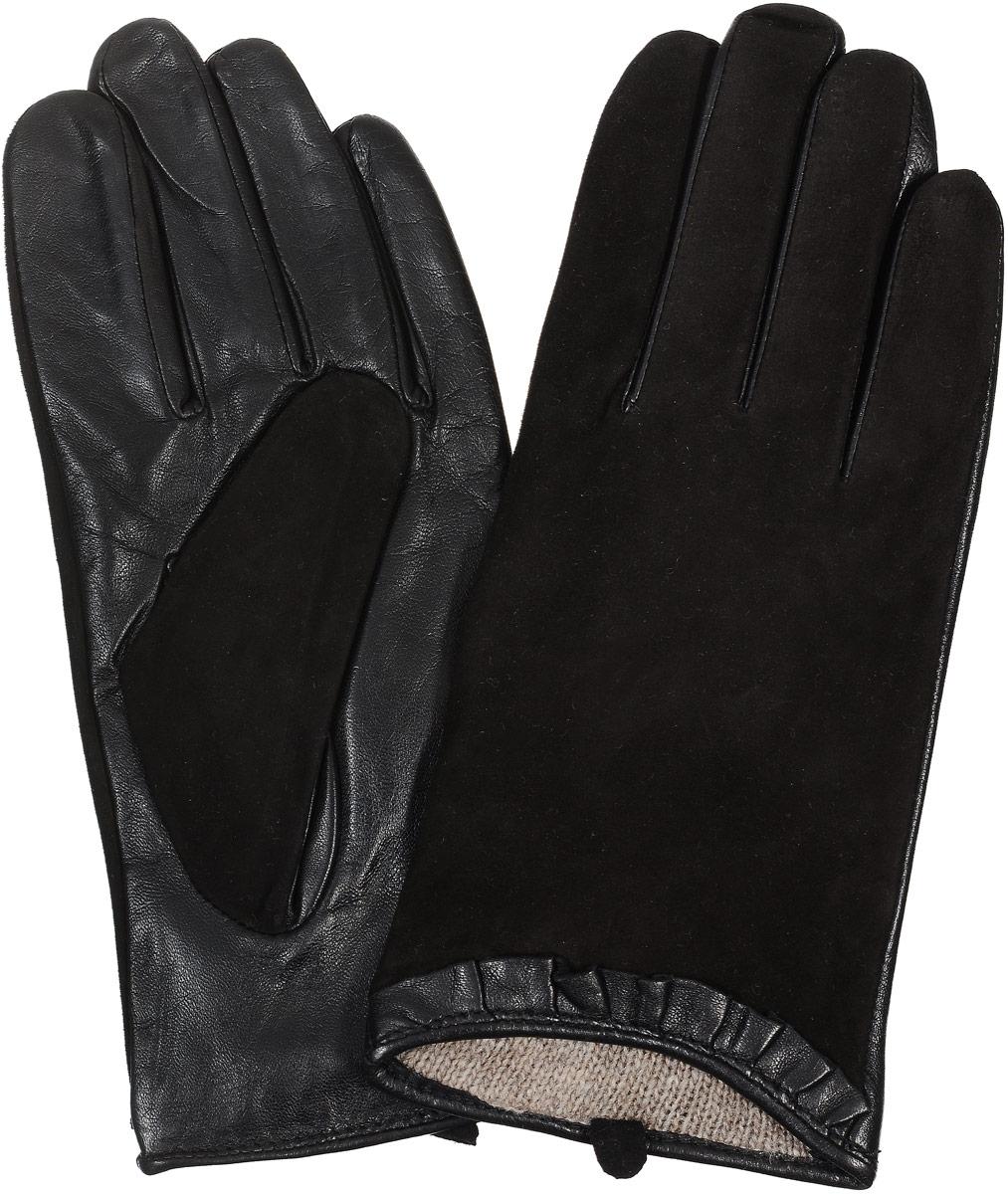29К_40046_12/10_П_1Стильные женские перчатки Piero станут великолепным дополнением вашего образа и защитят ваши руки от холода и ветра во время прогулок. Перчатки выполнены из комбинированной натуральной кожи и замши, а подкладка изготовлена из теплой шерсти. Модель выполнена в лаконичном однотонном стиле и оформлена оригинальными складочками. Такие перчатки будут оригинальным завершающим штрихом в создании современного модного образа.