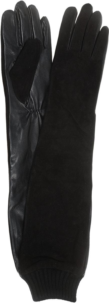 2104216683Стильные женские перчатки Piero станут великолепным дополнением вашего образа и защитят ваши руки от холода и ветра во время прогулок. Длинные перчатки выполнены из комбинированной натуральной кожи и замши, а подкладка изготовлена из искусственного шелка. Модель выполнена в лаконичном однотонном стиле и оформлена на манжете вязанной эластичной резинкой. Такие перчатки будут оригинальным завершающим штрихом в создании современного модного образа.